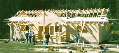 Building log cabins - construction picture