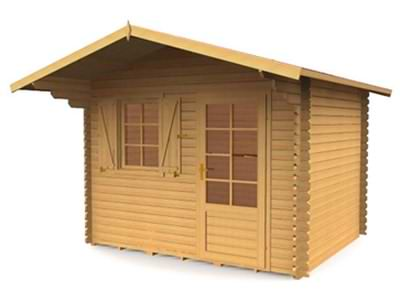 Garden cabin design that could be a temporary log cabin