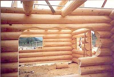 A custom log cabin archway