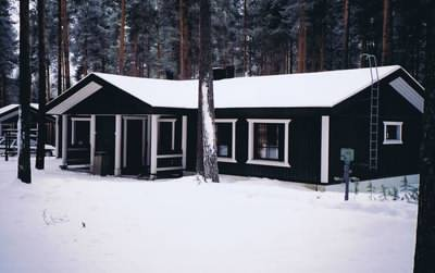A log cabin in a Finnish forest