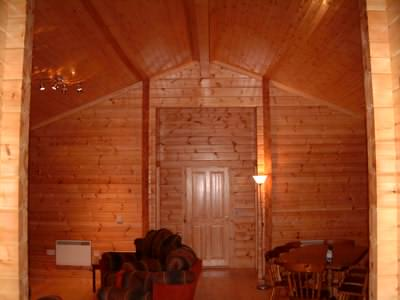 Log cabin interior with all wood