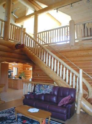A nice staircase can make a great feature in a log cabin interior