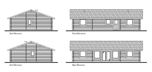 Log Cabin planning drawing with elevations