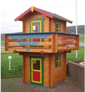 Many log cabin playhouses are compact