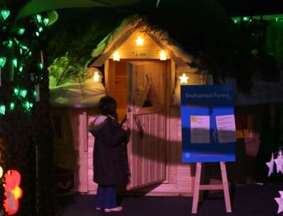 With lighting log cabin playhouses can be fun in the dark too!
