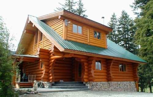 A rustic log cabin