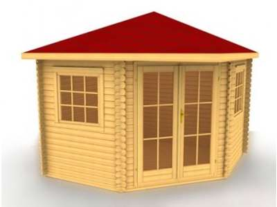 Corner style log cabin summerhouses can lend themselves to certain sites