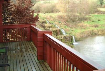A deck can really enhance a log holiday chalet