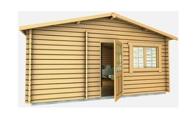 Log office design from the front aspect