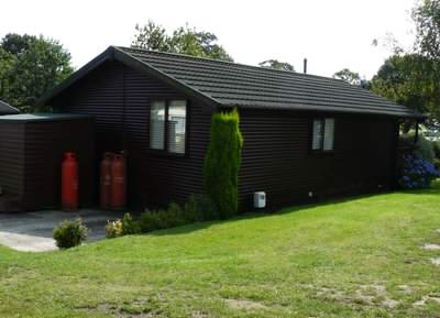 Mobile log cabin on a holiday park in the UK