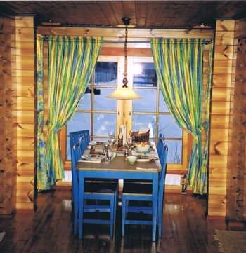 A log cabin interior is very inviting with the cold snow outside!