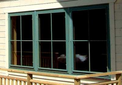 Windows in a UK log cabin