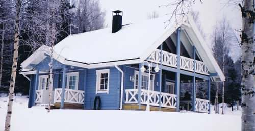 A Scandinavian log cabin in the snow