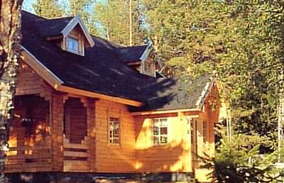 Scandinavian log cabins are often found in the woods